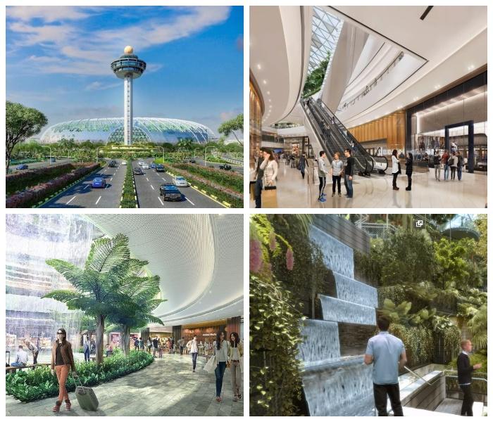 Новая зона сочетает пышную зелень, живописные водопады, площадки розничной торговли и увлекательные развлечения для всей семьи («Jewel Changi Airport»).
