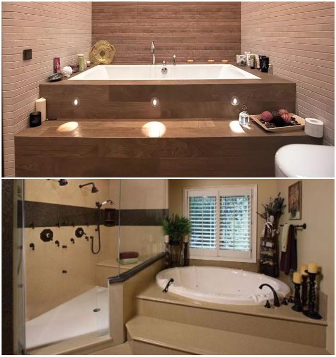 В ванной комнате подиум может быть не только украшением, но и прекрасным способом устроить скрытые системы хранения. | Фото: sovetdomu.ru/ roomester.ru.