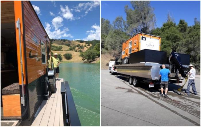 Универсальный крошечный дом Heidi-Ho после плавания можно транспортировать на стандартном прицепе. | Фото: houseboatmagazine.com.