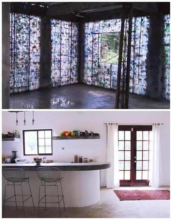 Интерьер дома из пластиковых бутылок (Plastic Bottle Village, Панама). | Фото: lifter.com.ua.