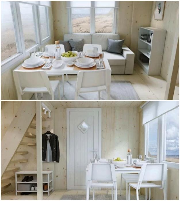 Гостиная эко-домика от Brette Haus укомплектованная предметами мебели от Ikea.