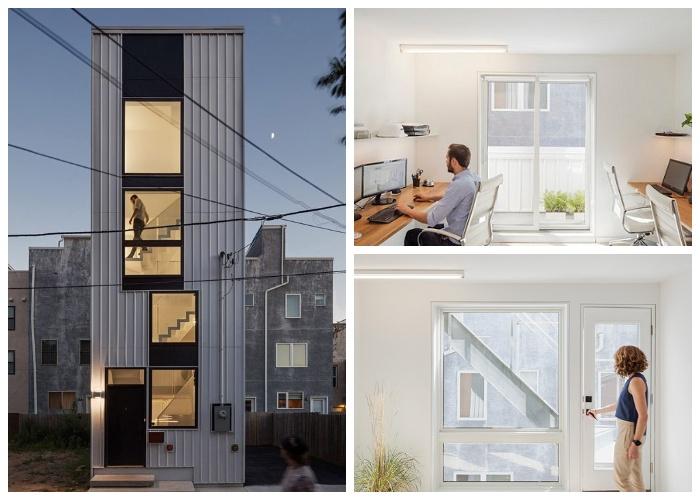 Огромные окна до пола не только позволяют проникать дневному свету, но и способствуют зрительному увеличению площади (Tiny Tower, Филадельфия).