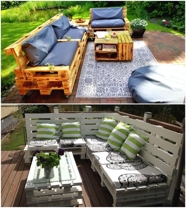 Садовый мебельный гарнитур можно сделать с помощью старых поддонов.