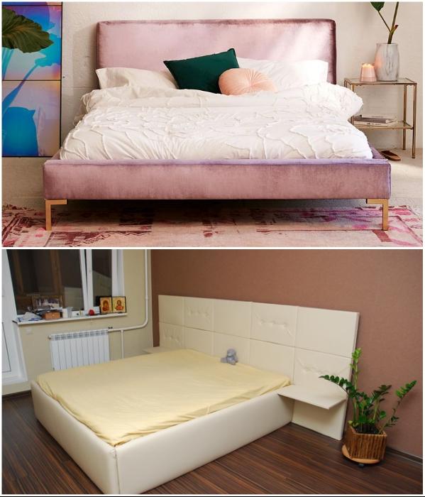 Если видимые части кровати сделаны из ОСБ или необработанного ДСП, то его обтягивают тканью или кожзамом. | Фото: obustroeno.com/ stroyremned.ru.