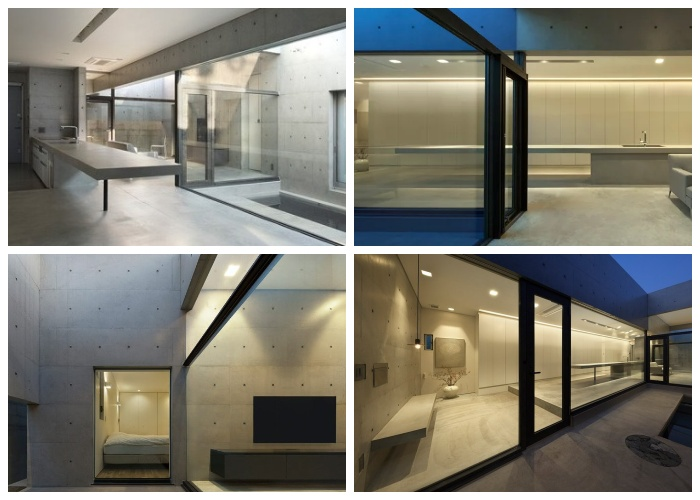 Искусственное освещение «House in Shime»  стало главным украшением интерьера в темное время суток (Фукуока, Япония).