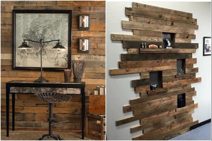 Для декорирования стен прекрасно подходит древесина из строительных поддонов. | Фото: интерьерклуб.рф/ pinterest.com.