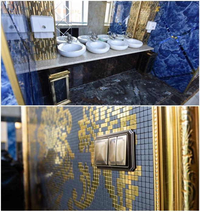 Золотая лепнина в туалетах Екатеринбургской школы № 106. | Фото: news.myseldon.com.