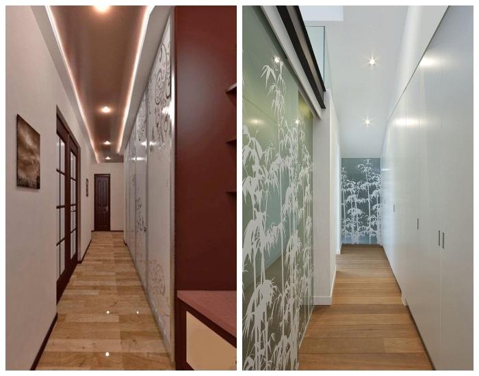 Варианты оформления очень узкого и длинного коридора.