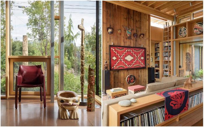 Уникальная коллекция произведений искусства коренных американских народов стала украшением и дома, и сада (City Cabin, Сиэтл).
