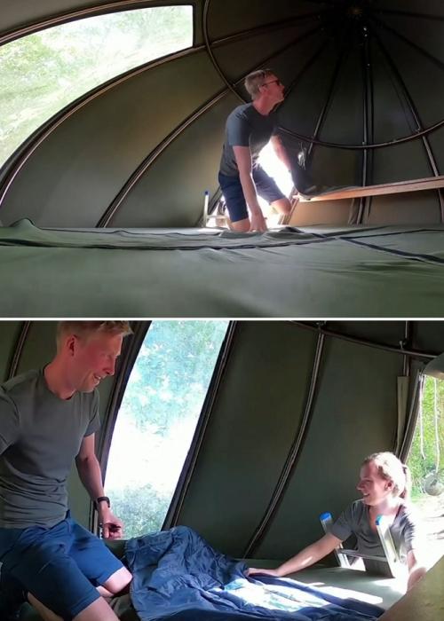 Скромность интерьера номера в виде капель-палаток не замечают и влюбленные («Tranendreef & Tentvillage», Бельгия). | Фото: youtube.com/ ©Yahoo Finance.
