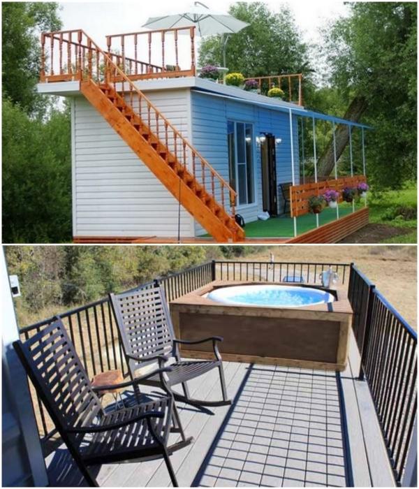 На крыше контейнера можно обустроить прекрасную зону отдыха на открытом воздухе. | Фото: leningradskiedoma.ru/ ciscoexpo.ru.