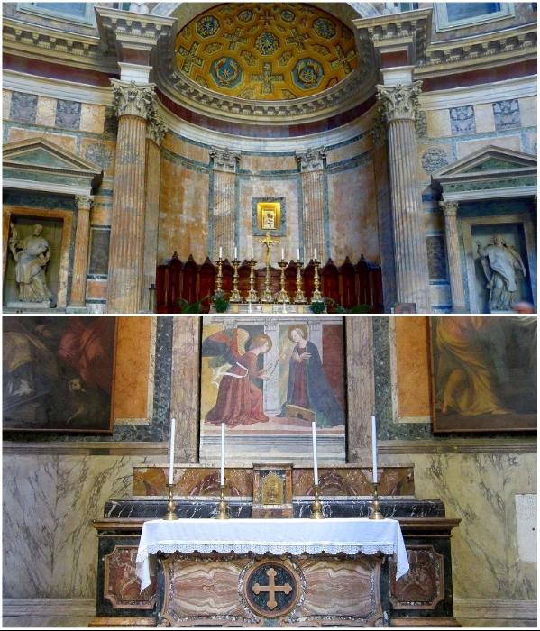Теперь вместо богов в нишах римского Пантеона расположены статуи святых, фрески, картины и алтари. | Фото: expertitaly.ru/ planetofhotels.com.