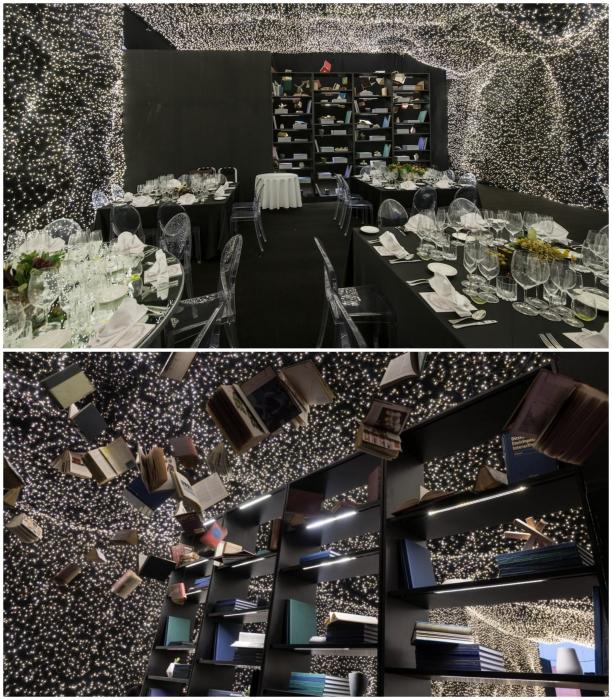Сочетание динамики и освещения делают интерьер ресторана впечатляющим и захватывающим («Interstellar», Мехико). | Фото: mymodernmet.com/ ©Jaime Navarro.