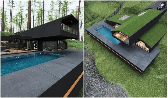 Бассейн с голубой водой изящно оттеняет нестандартную красоту загородного особняка Black Villa.