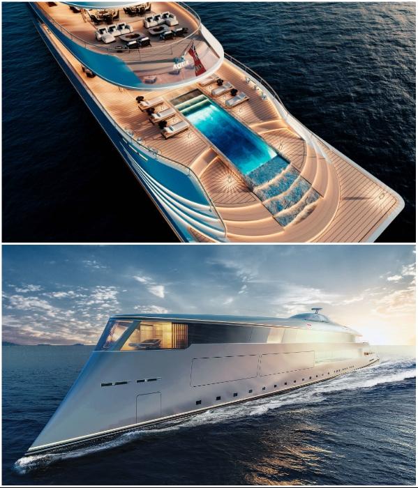 На яхт-шоу в Монако голландцы представили модель первой в мире суперяхты с водородным двигателем (концепт «AQUA»). | Фото: interestingengineering.com/ interparus.com, © Sinot Yacht.