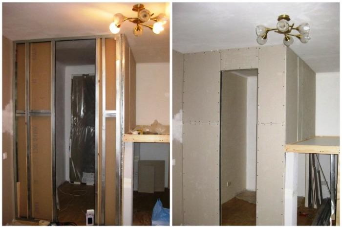 Наружная часть гардеробной и спальной зоны обшиты гиспокартоном. | Фото: youtube.com/ Anna_Studio.