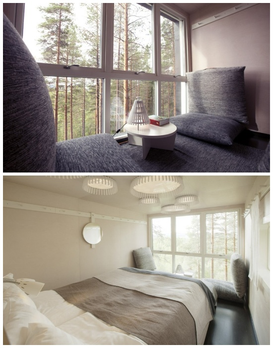 Отельный номер «Cabin» (Кабина) оформлен в футуристическом стиле (эко-отель Treehotel, Швеция). | Фото: sergeybond.livejournal.com.
