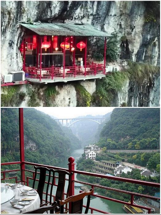 Балконы свисают над ущельем, по которому протекает живописная река Янцзы. | Фото: inspired.com.ua/ youtube.com, © dailyWOWvideo.