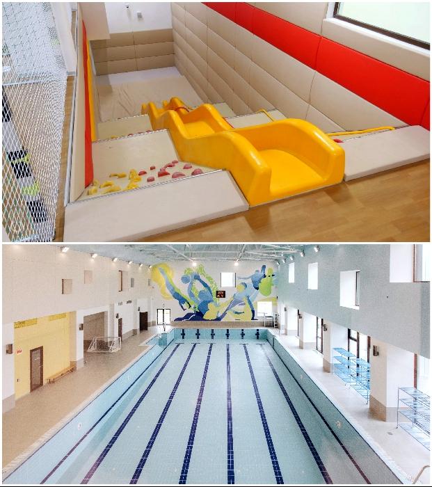 Мало найдется школ, которые могут похвастаться собственным бассейном и горками («Точка будущего», Иркутск).
