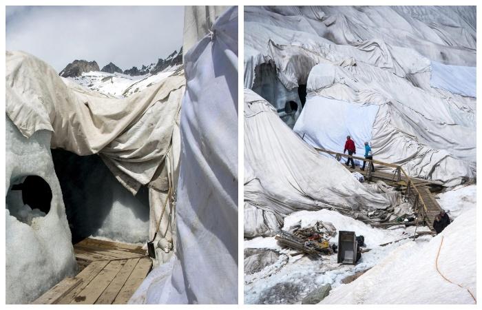 Чтобы приостановить таяние льда, вход в туннель накрывают специальным материалом (Альпы, Швейцария).