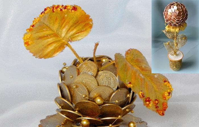 Сувениры из монет создают для привлечения благополучия в дом.