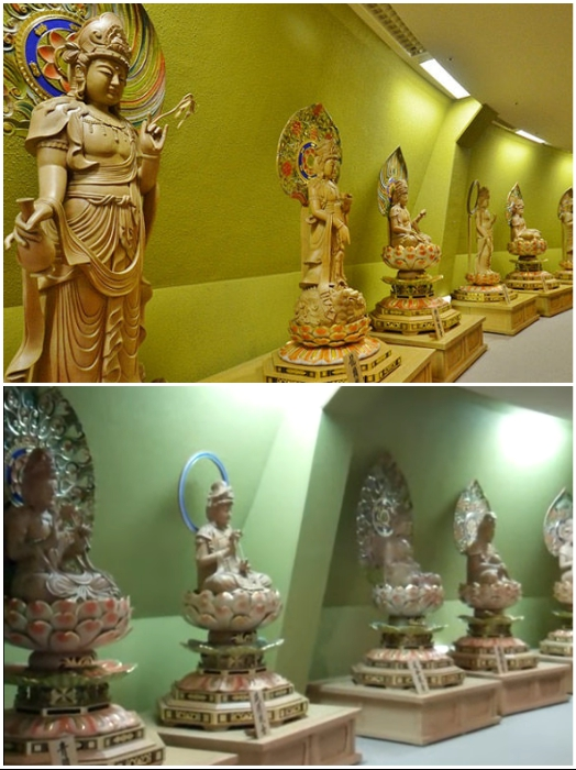 Скульптуры и статуэтки украшают каждый этаж внутри статуи Богини милосердия Каннон в Сэндай (Япония). | Фото: travel.rambler.ru/ youtube.com © EnchantingJapan.