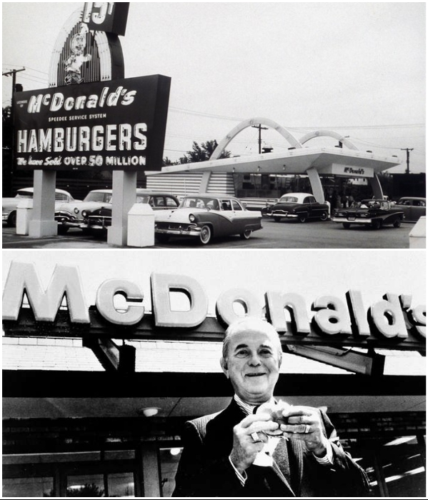 Так выглядел первый в мире ресторан McDonald's и Рэй Крок, который увидел огромные перспективы у концепции быстрого питания. | Фото: britannica.com/ mentalfloss.com.