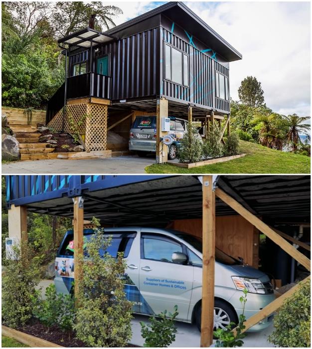 Благодаря необычному размещению контейнеров, получилось обустроить парковочное место. © IQ Container Homes.