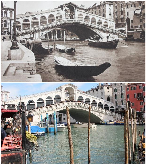 Снимок моста Понте ди Риальто через Грант-канал в Венеции сделан до покупки книги, причем старшим сыном Каспера (1925 и 2018 гг., Италия). © Kurt Hielscher / © Molenaar.