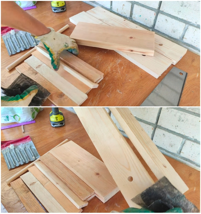 Остатки доски и реек подобрать по размеру, при надобности укоротить. | Фото: youtube.com/ © Шебби-Шик.