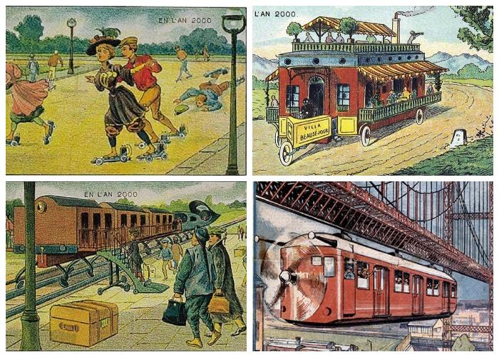 Художники-ретрофутуристы так изображали предсказания и мечты о достижениях в транспортной индустрии.