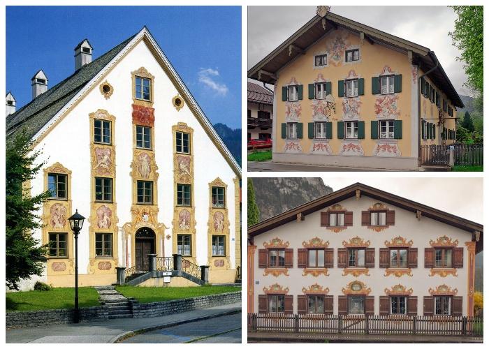 Более двух столетий фрески украшают дома альпийской деревни Обераммергау (Германия).