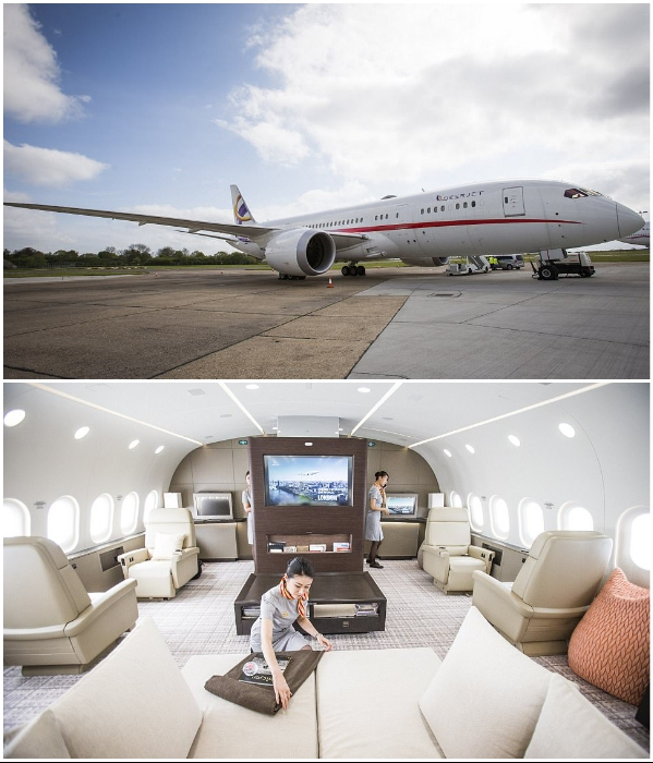 Элитный пентхаус на борту авиалайнера VVIP Boeing787 Dream Jet своей роскошью затмил самолет президента США.   Фото: germany.nashieu.com.