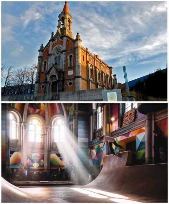 Церковь святой Варвары в Льянере полностью переоборудовали, сделали современную роспись и устроили в ней ...скейтпарк (Испания). | Фото: varlamov.ru.