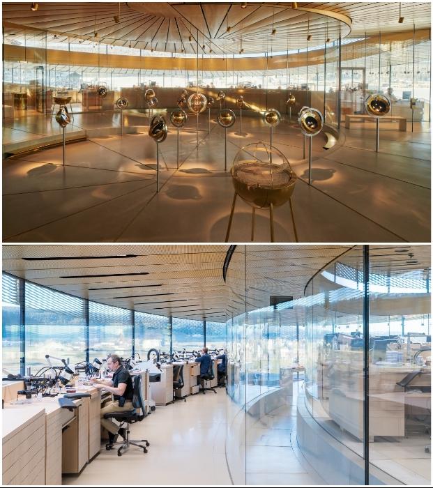 В Musee Atelier Audemars Piguet созданы выставочные площадки с эксклюзивными моделями часов и оборудованы мастерские (Ле-Брасю, Швейцария.