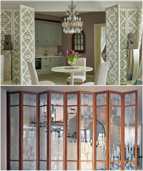 Ажурные или зеркальные ширмы-перегородки сделают интерьер более воздушным и визуально просторным. | Фото: zhitiebitie.ru.