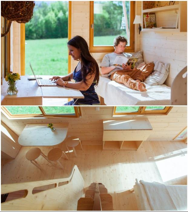 Крошечный домик на колесах от французской компании Optiniod поможет провести отпуск или выходные на лоне природы в комфортных условиях (Head in the stars).