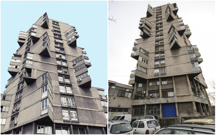 The Toblerone Building соединяет в себе модернистский подход и брутализм (Белград, Сербия).
