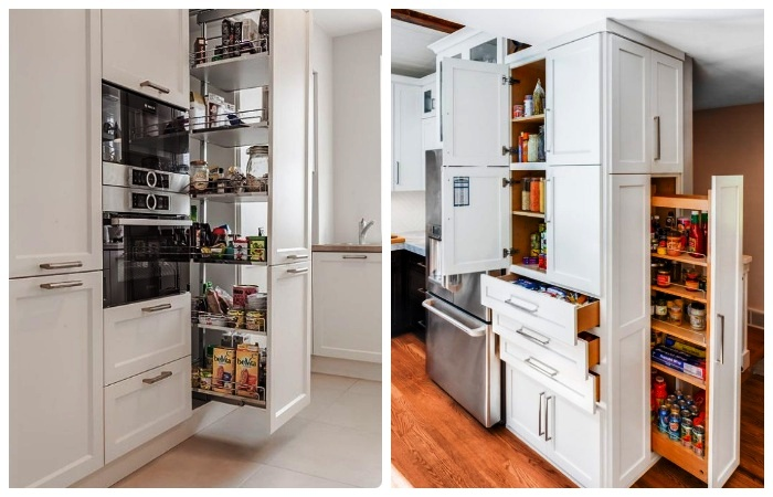 Выдвижные системы в кухонном пенале существенно сэкономят место.