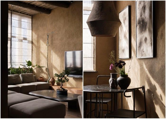 Необычное дизайнерское решение просматривается даже в небольших элементах декора (Wabi Sabi Apartment).
