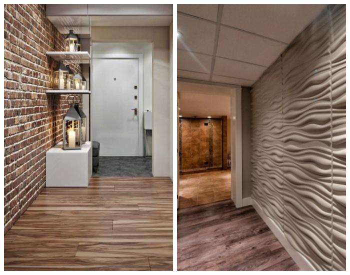 Использование фактурных поверхностей в оформлении интерьера узкого коридора. | Фото: pinterest.com.