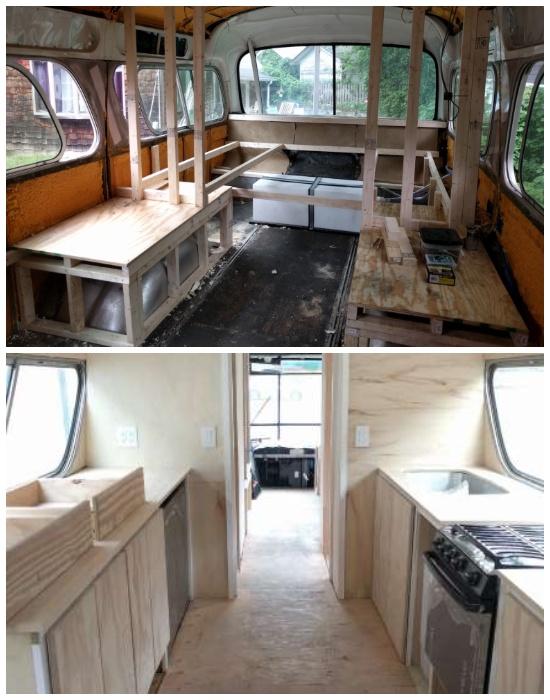 Интерьер дома на колесах сделан исключительно из природных материалов («Greyhound»). | Фото: interestingengineering.com.