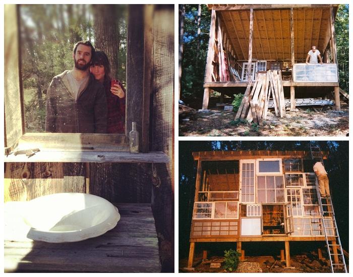 Супруги Ник Олсон и Лайла Хорвиц создали домик на опушке леса из старых оконных рам (The Sunset House, США). | Фото: huckberry.com.