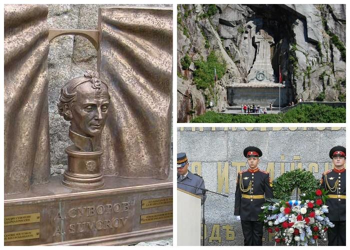 На месте кровавых сражений у дьявольского моста установили памятник Суворову и мемориал погибшим воинам (Альпы, Швейцария).