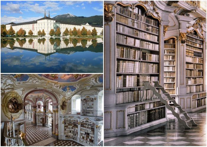 Старинная библиотека в аббатстве Адмонт (Австрия).