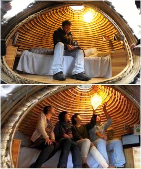 Внутри достаточно места для ночлега (Egg House, Пекин). | Фото: fastcompany.com.