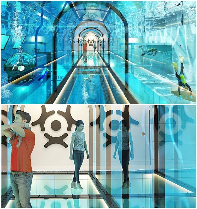 Внутри «Deepspot» разместили туннель, по которому могут прогуливаться все желающие и выходить сухими из воды (Мщонов, Польша). | Фото: journal.homemania.ru/ horecatrends.com.