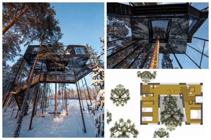 Вилла «The 7th room» имеет невероятный экстерьер и расположена на высоте 10 метров (отель Treehotel, проект архитектурного бюро Snоhetta). | Фото: archi.ru.