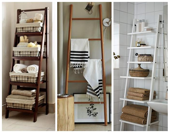 В качестве этажерки или вешалки можно использовать строительную стремянку или обычную лестницу.