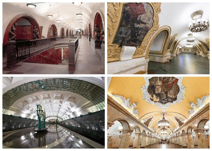 Одни из самых красивых станций московского метрополитена (Россия).